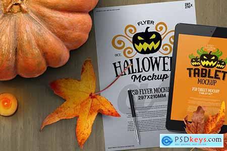 Halloween Autumn Stationery A4 Tablet Mockup TXSCCT7