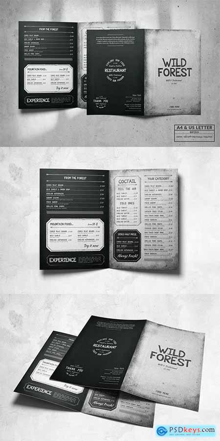 Bifold Food Menu Design A4 & US Letter