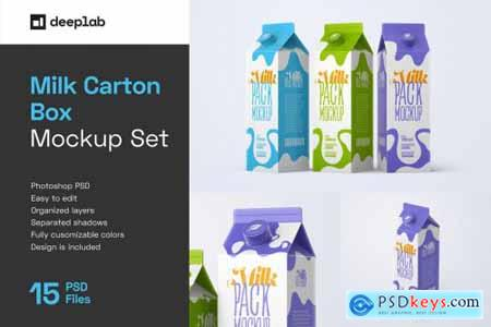 Milk Carton Box Mockup Set Package 5480260