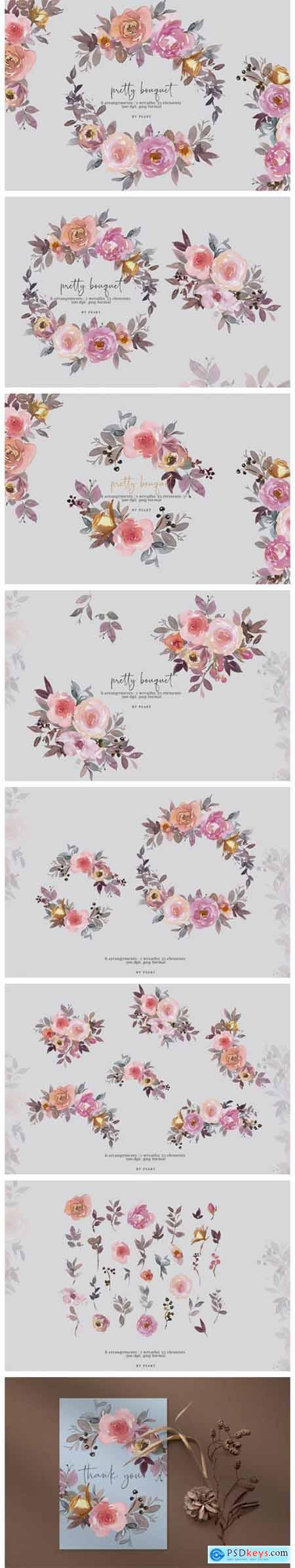 Pretty Bouquet Watercolor Clipart Set 6147792