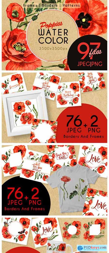 Stunning Poppies PNG Watercolor Set 4755309