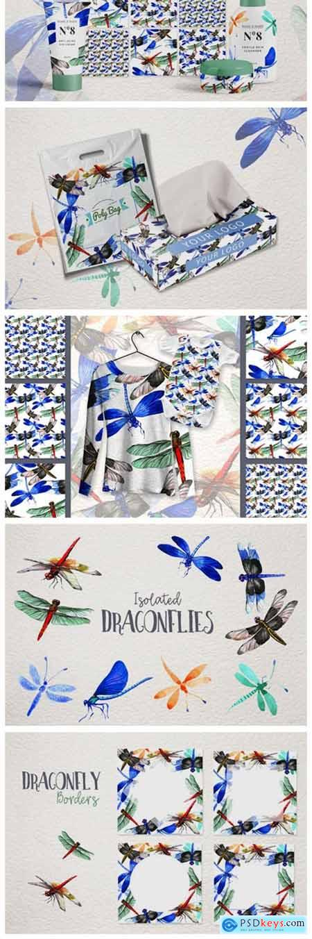 Insect Dragonfly PNG Watercolor Set 4754130