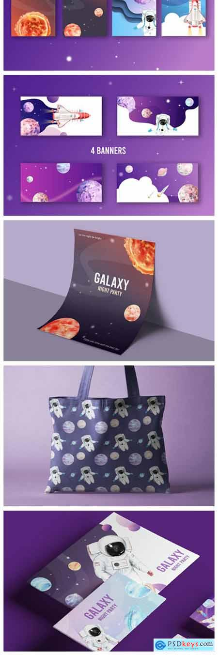 Space Galaxy Astronaut Watercolor Set 6177096
