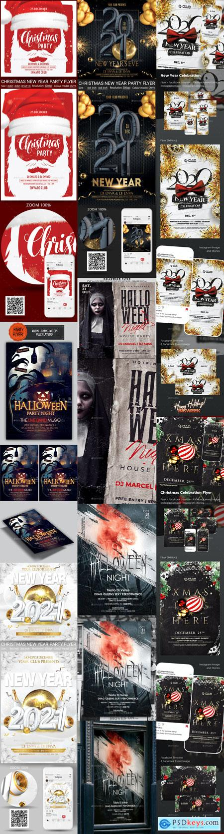 Halloween and NewYear Flyer Templates Vip 21-OCT-2020 PREVIEW