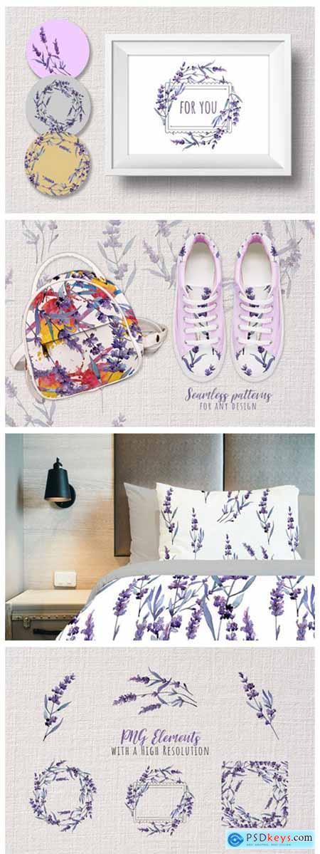 Wonderful Violet Lavender PNG Watercolor Set 4756448