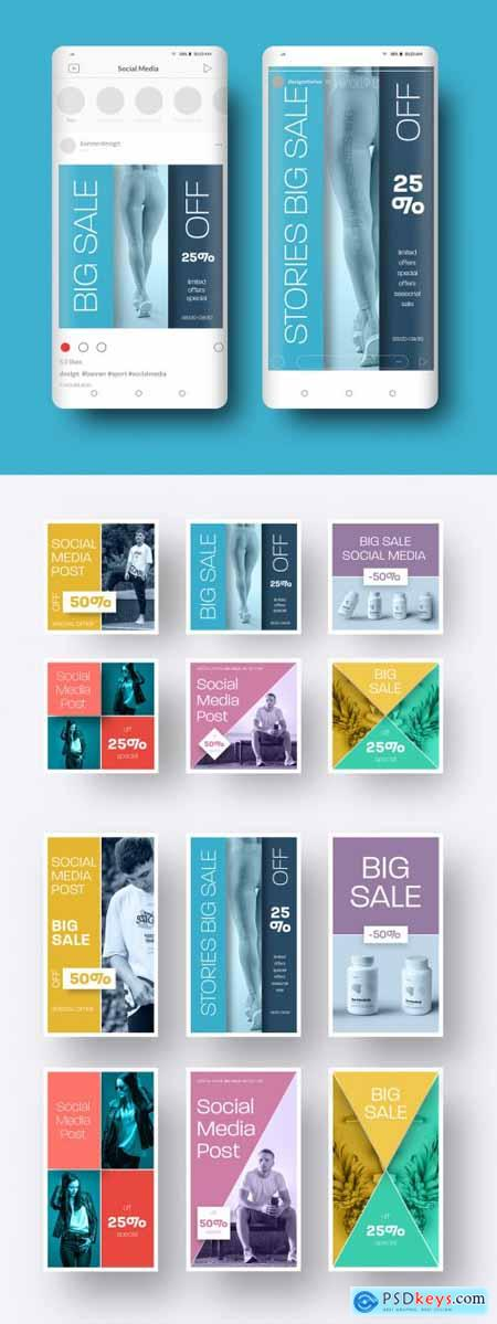 Social Media Banner with Square and Rectangular Shapes 386957232