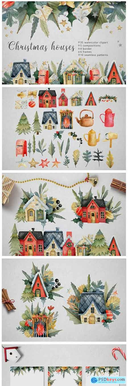 Watercolor Christmas Houses 6013563