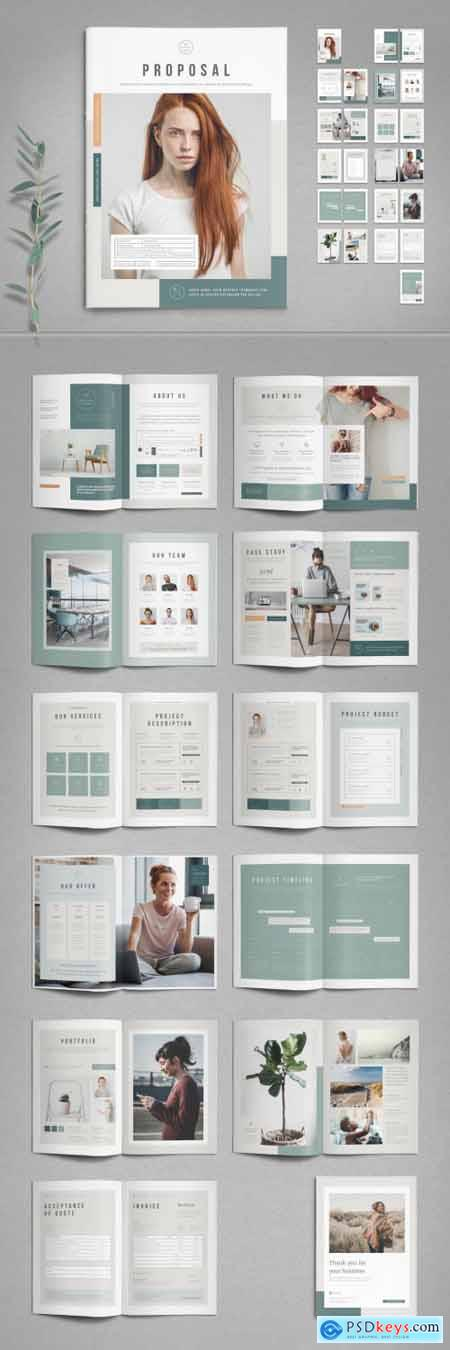 Business Proposal Template with Pale Green and Peach Elements 387210735