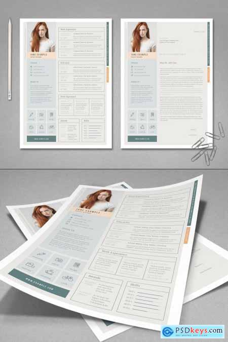 Pale Green and Peach Resume Layout 387210744