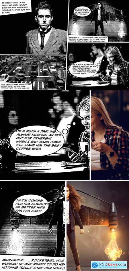 Vintage Comic Book Effect Mockup 387205293