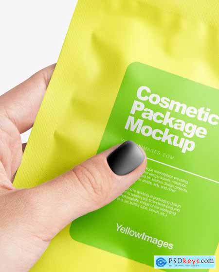 Sachet in a Hand Mockup 68629
