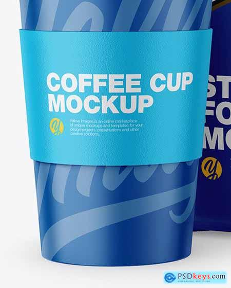 Matte Stand-Up Bag with Coffee Cup Mockup 68656