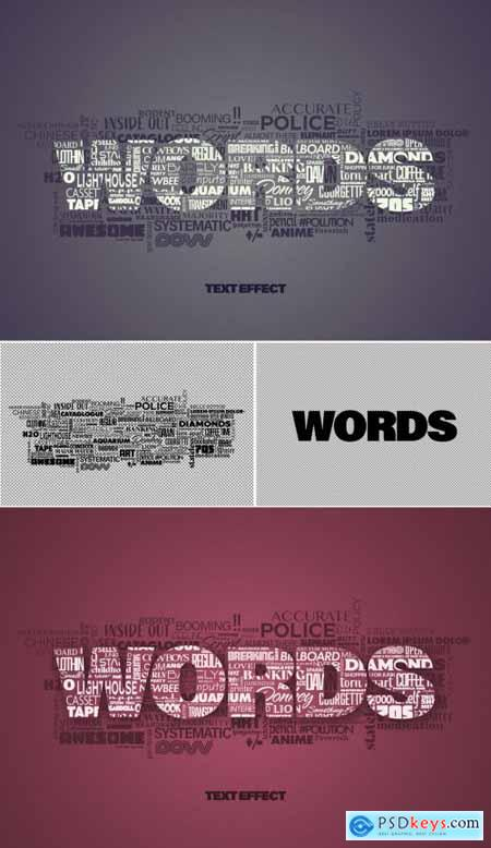 Mixed Text Words Cloud Effect Mockup 387205415
