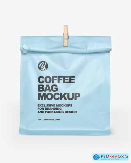 Matte Coffee Bag With Clip Mockup 68599