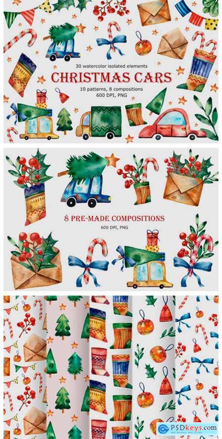 Christmas Cars - Watercolor Clip Art 6231616