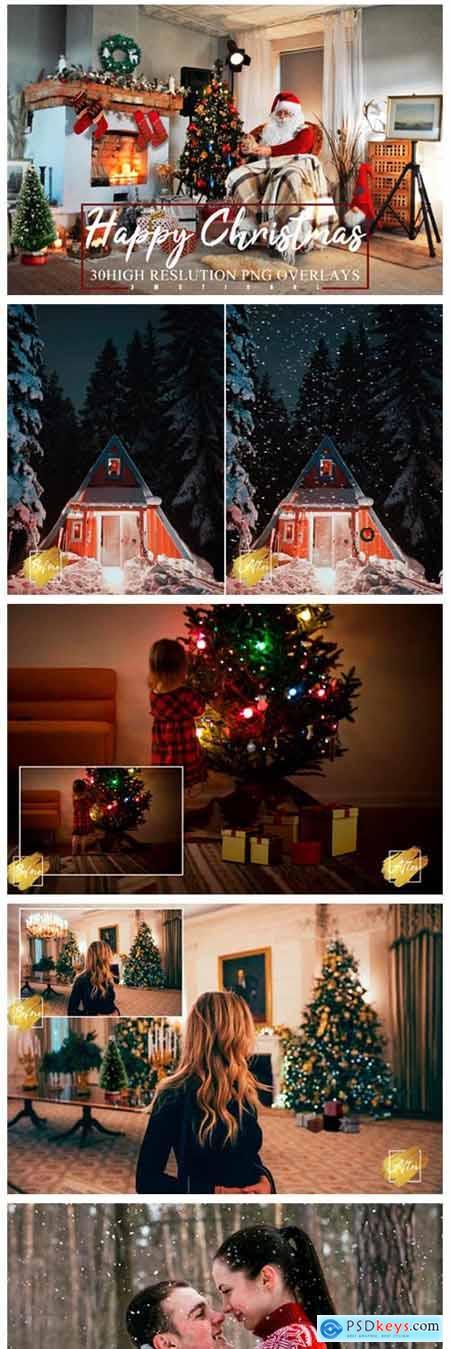 30 Happy Christmas Photoshop Overlays 6196898