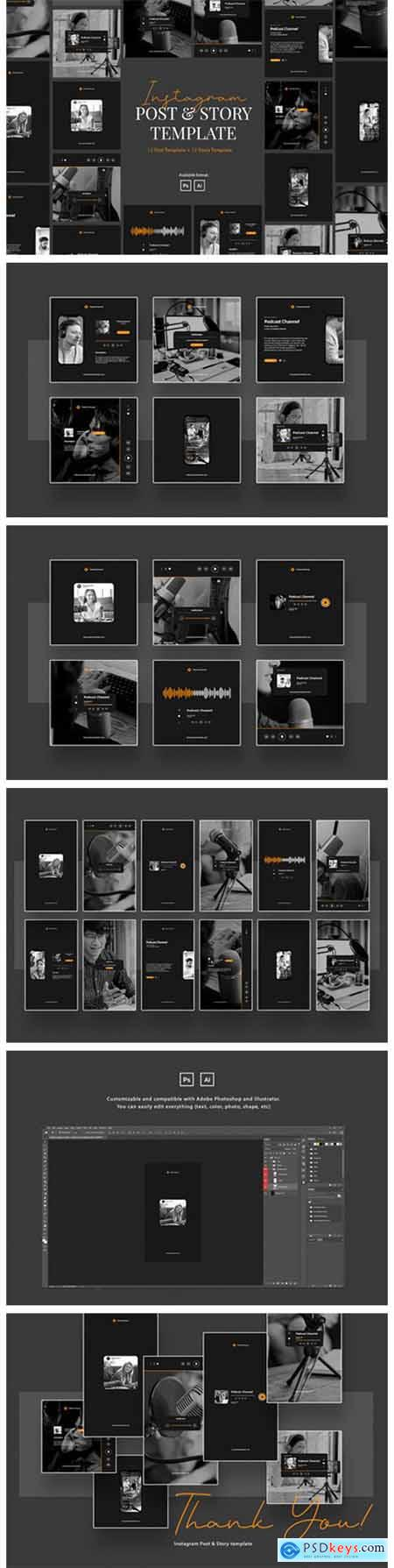 Podcast Instagram Post & Story Template 6216809