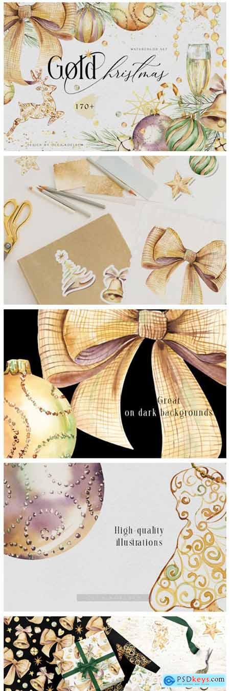 Watercolor Gold Christmas Clipart 6216987
