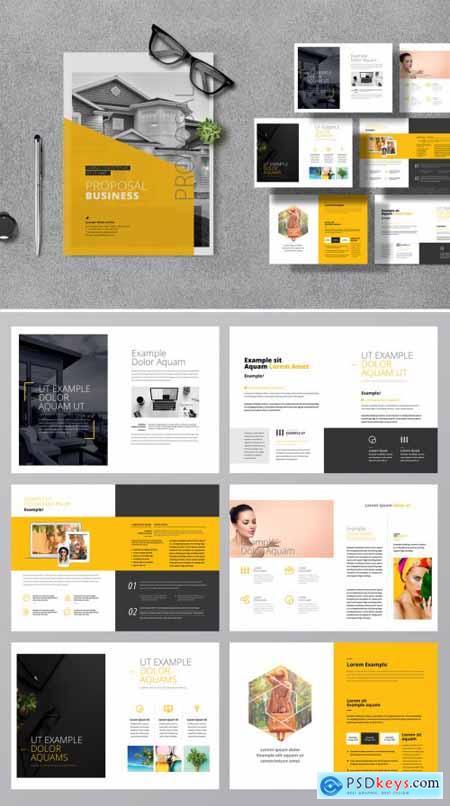 Yellow Accent Minimal Creative Proposal Layout 387476203