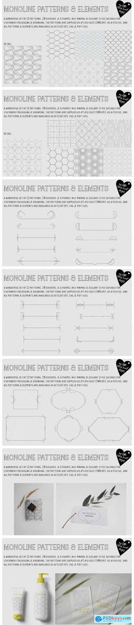 Monoline Patterns & Elements 6244413