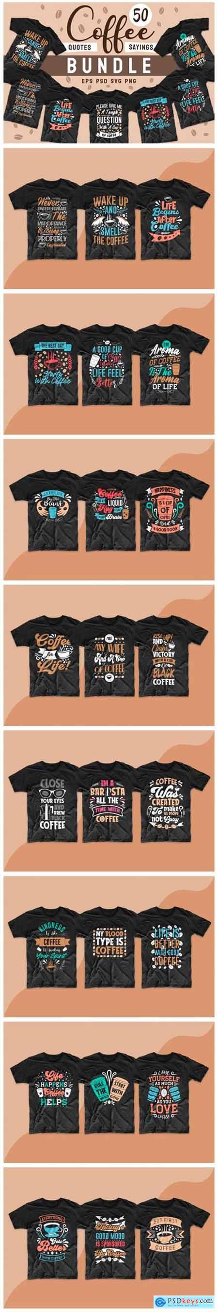 Coffee SVG Bundle Quotes T-shirt Design 5913315