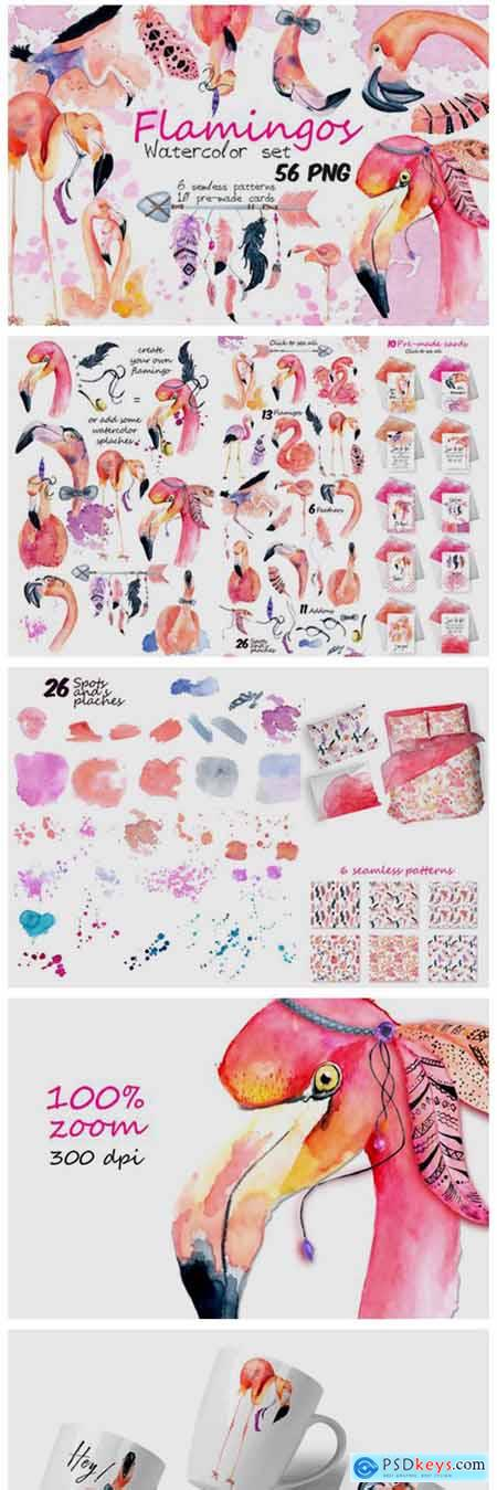 Boho Flamingo Watercolor Set 6217398