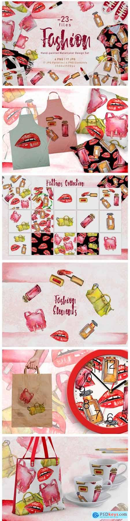 Fashion Accessories PNG Watercolor Set 4758070