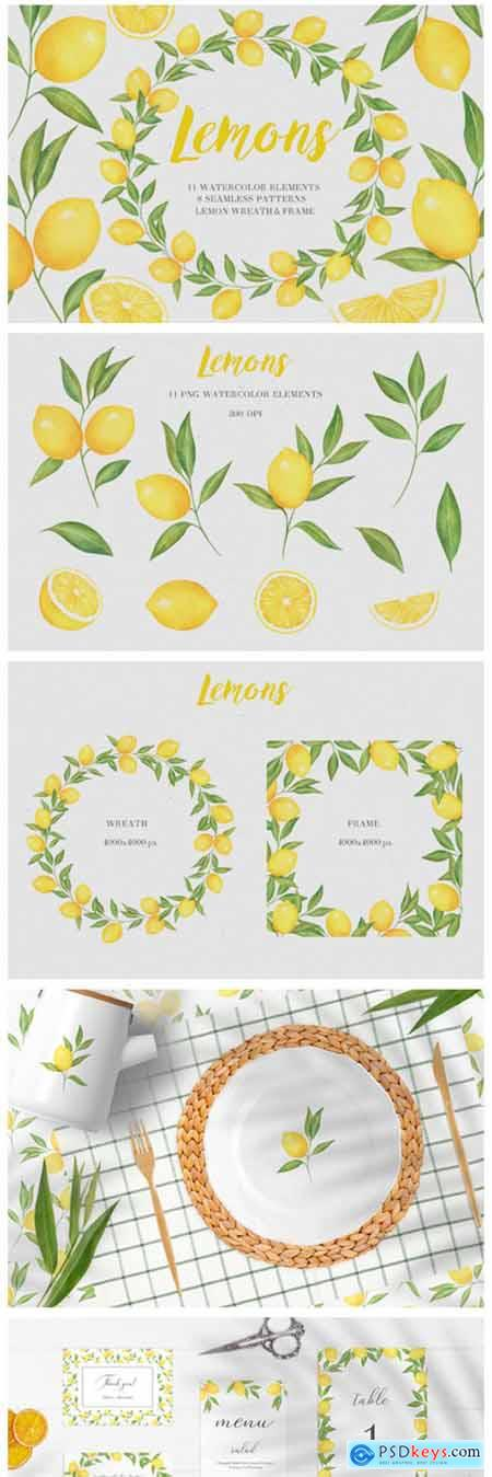 Lemon Watercolor Collection 4698683