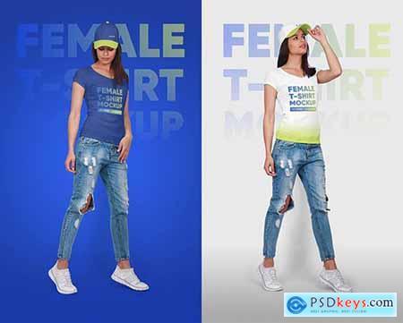 Female T-Shirt & Baseball Cap Mockup 5336844