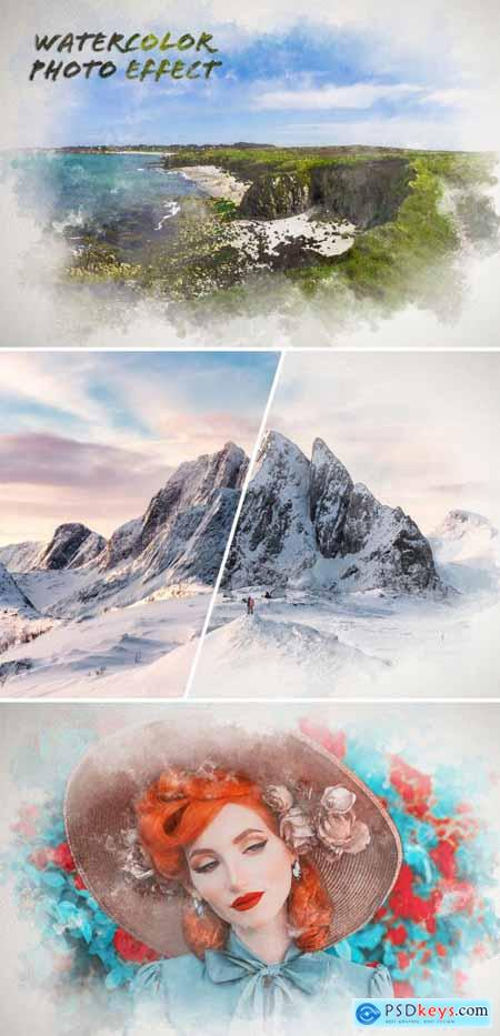 Watercolor Painting on Paper Texture Photo Effect Mockup 388094062
