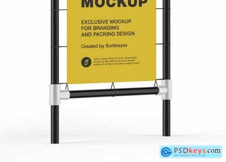 Metallic Stand Matte Banner Mockup 5556185