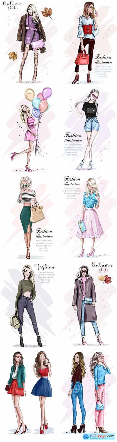 Sketch beautiful and stylish young woman painted illustration