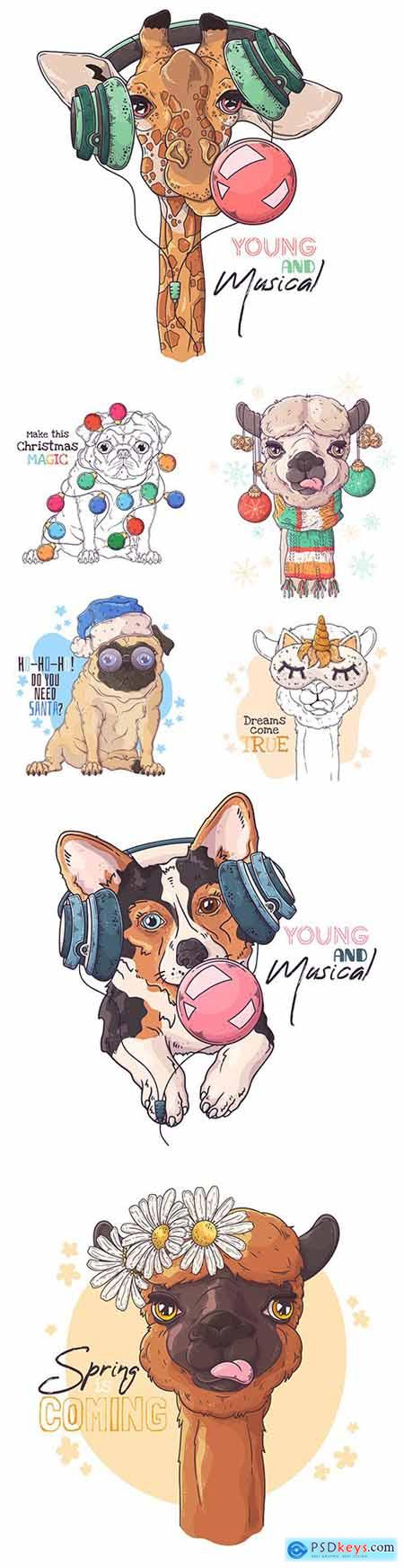 Portrait cute animals in music headphones and New Years accessories