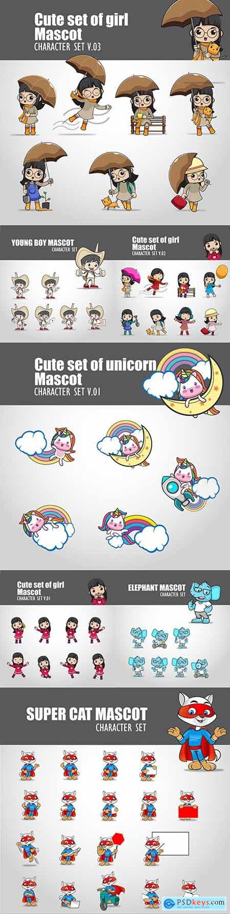 Cute set of girl mascots and animal illustrations