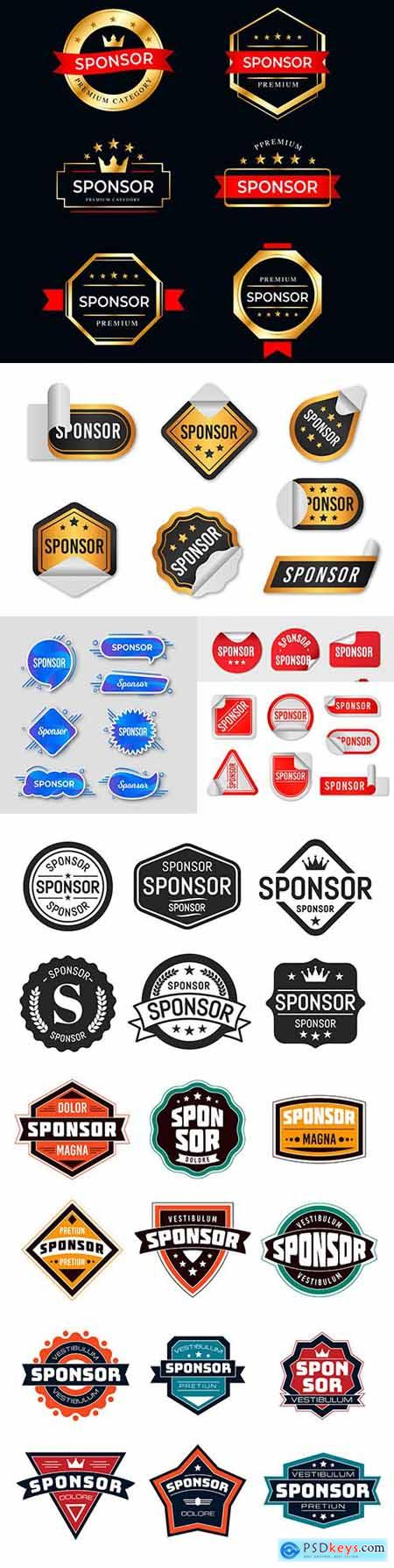 Label sponsor and retro emblem design collection