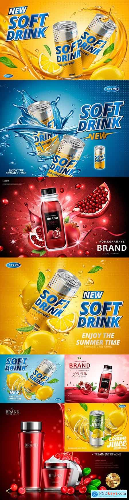 Lemon-flavored soft drink and pomegranate juice design advertising