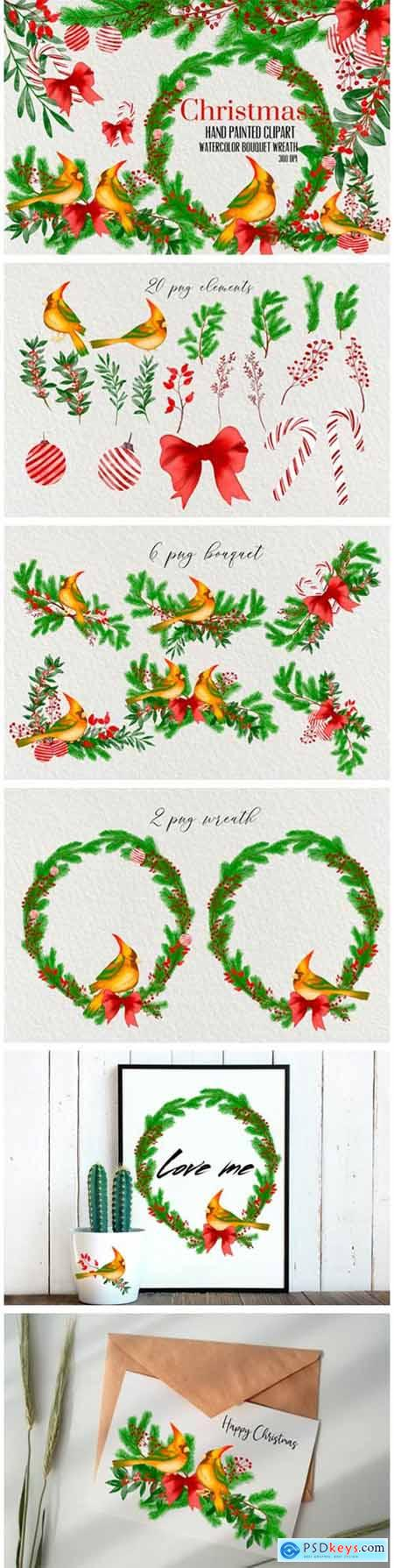 Watercolor Christmas Flower Clip Art 4674412
