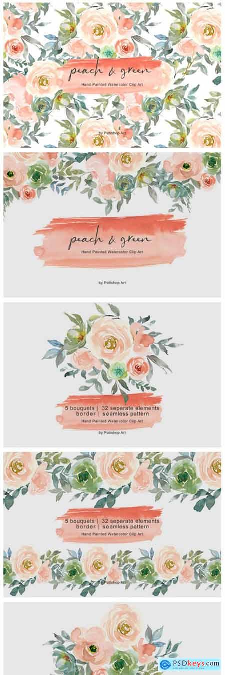Peach & Green Watercolor Floral Clipart 3655233