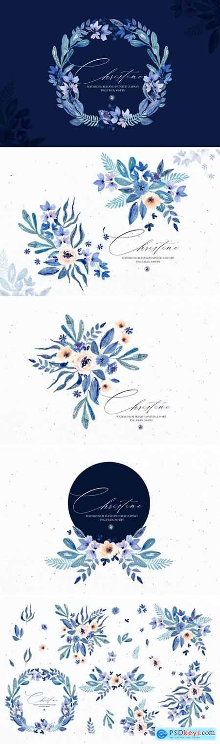 Watercolor floral set - Christine