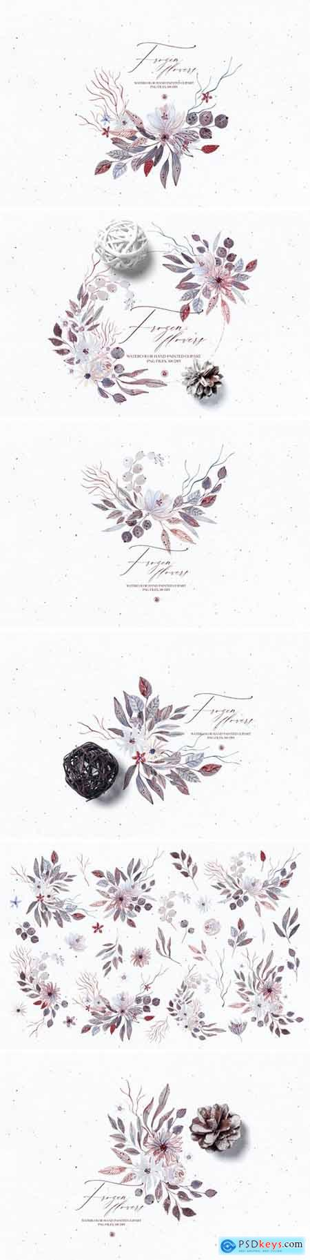 Watercolor floral set - Frozen Flowers