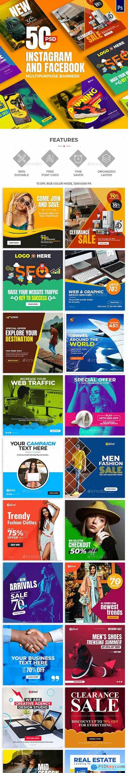 GraphicRiver 50-Instagram & Facebook Banners 28665627
