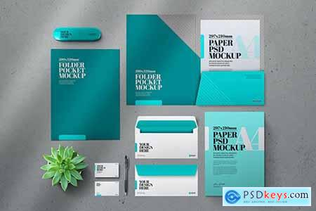 Stationery DL Envelope Folder Pocket Mockup