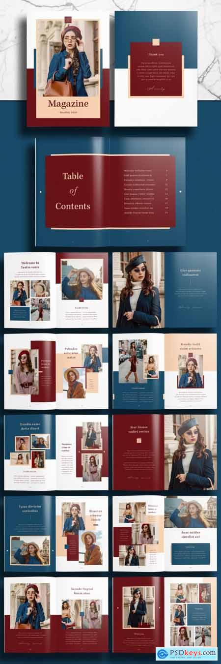 Fashion Magazine Lookbook Layout with Red and Blue Accents 391311709