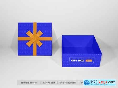 Christmas gift box with ribbon mockup