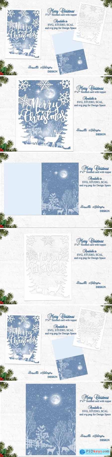 Merry Christmas Reindeer Snowflake Card 6526408