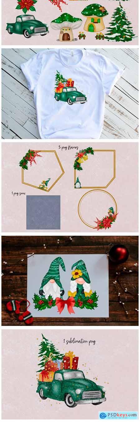 Green Gnomes Christmas Design Clipart 6528834