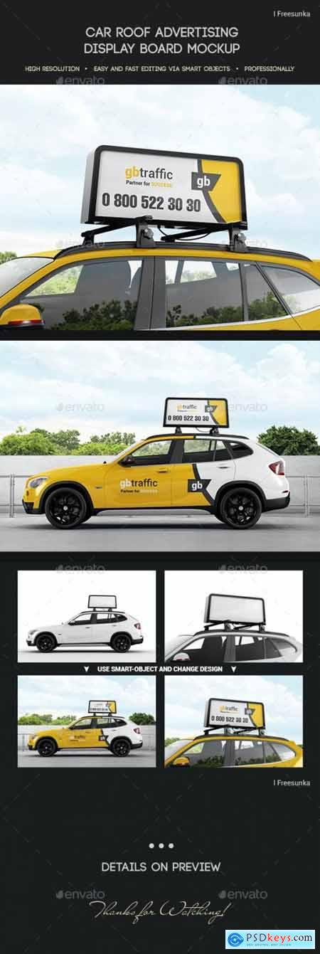 Car Roof Advertising Display Board Mockup 29302821