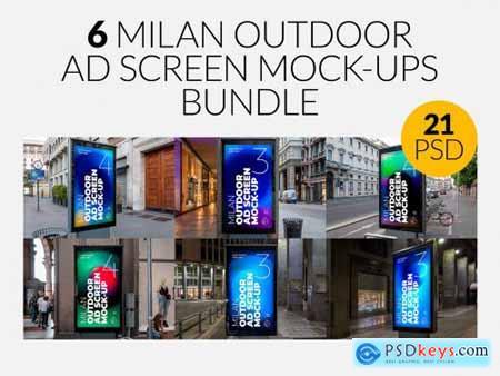 Milan Outdoor Ad Screen MockUps Set 5471499