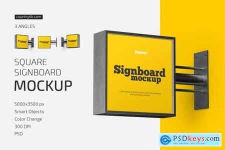 Square Signboard Mockup Set 5584803