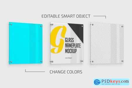 Square Glass Nameplate Mockup 5592114